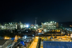 A night view of one of Gharda's manufacturing facilities.