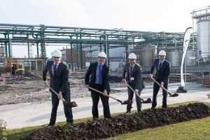 Croda executives take part in the official groundbreaking ceremony for additional production capacity.